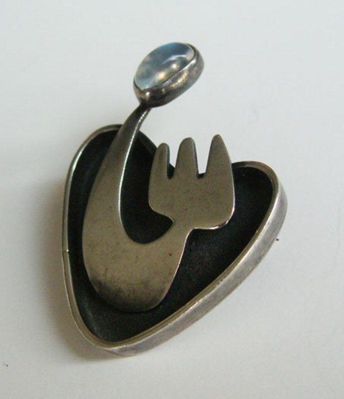 Ed Wiener Modernist Jewelry Sterling w/Moonstone Brooch