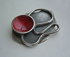 Maxwell Chayat Sterling and Enamel Modernist Brooch