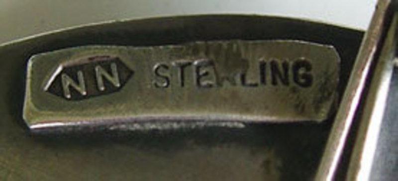 Modernist Sterling Jewelry Vintage Brooch w/Large Stone