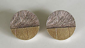 Friedlich Modernist Sterling & 18k Gold Earrings