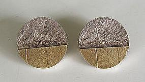 Friedlich Modernist Sterling & 18k Gold Earrings