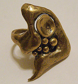 Carl Tasha Modernist Bronze Vintage Abstract Ring