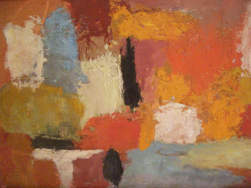 Lucille Ireland Modernist Vintage Abstract Oil Painting