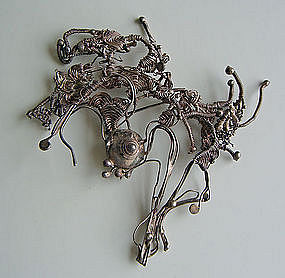 Marci Zelmanoff Twisted Silver Wire Brooch