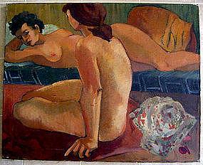 Sheila Deutsch Modernist/Deco Oil/Canvas Philadelphia