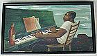 WPA 1930s Black Man Playing Piano Painting