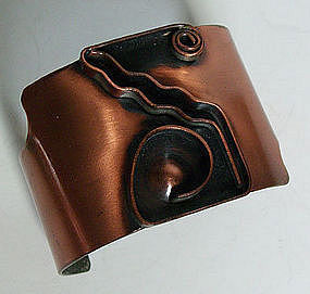 Rebajes Modernist Copper Geometric Deco Bracelet