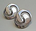 Uni David Andersen Sterling Modernist Earrings Norway