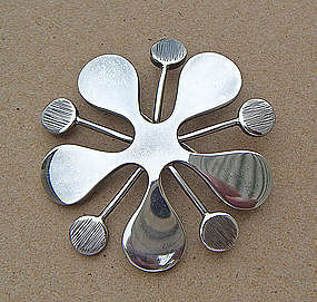 Jane Wiberg Modernist Sterling Brooch-  Denmark