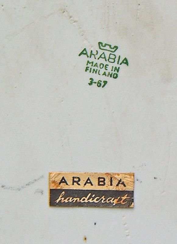 Arabia Finland Handcrafted Artisan Modernist Large Tile