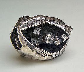 Sterling Modernist Pod Ring - 1950's