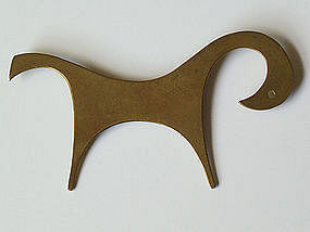Peggy Miller Modernist Jewelry Brass Horse Brooch
