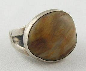 Vintage C. L. Smith Modernist Sterling & Shell Ring