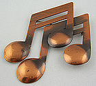 Rebajes Modernist Jewelry Copper Musical Notes Pin