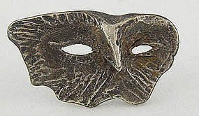 Olaf Skoogfors Modernist Jewelry Sterling Mask Brooch