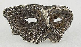 Olaf Skoogfors Modernist Jewelry Sterling Mask Brooch