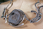 Israeli Modernist Sterling Necklace w/Quartz Geode