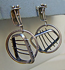 Ed Wiener Modernist Sterling Silver Vintage Earrings