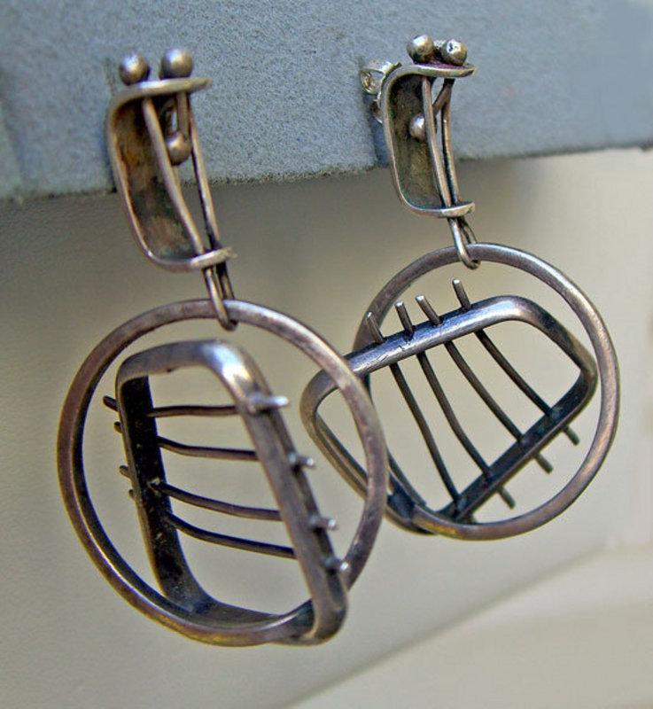 Ed Wiener Modernist Sterling Silver Vintage Earrings