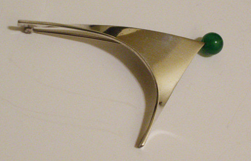 Henry Steig Modernist Sterling Brooch w/Green Stone