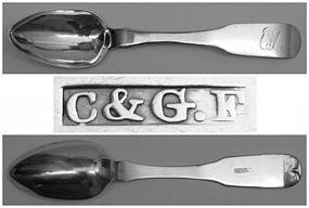 Rare Coin Silver Teaspoon by Charles & George Fletcher of Phila.