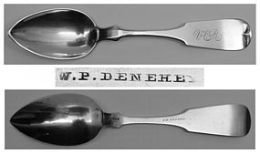Harrisburg, PA Coin Silver Teaspoon - William P. Denehey, Circa 1867