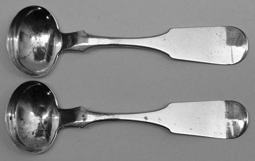 Pair of Norristown, PA Coin Silver Salt Spoons by Washington T. Koplin