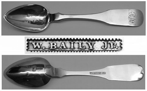 Philadelphia Coin Silver Teaspoon by William Baily, Jr. - Earlier Mark
