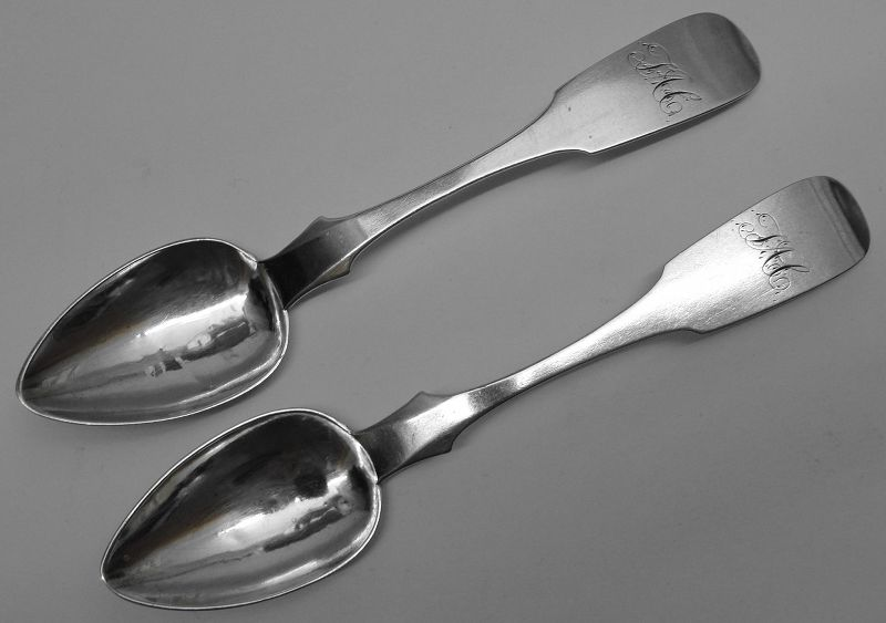 Scarce Pair of Pottsville, PA Coin Silver Spoons by Robert C. Green