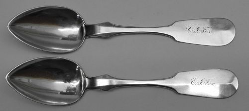 Good Pair of West Virginia Coin Silver Teaspoons, James T. Scott & Co.