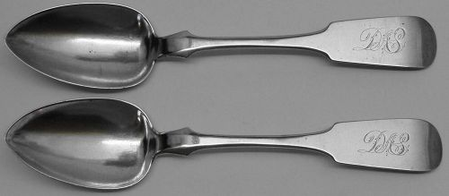 Pair of Scarce Coin Silver Tablespoons by Theodore LeHuray