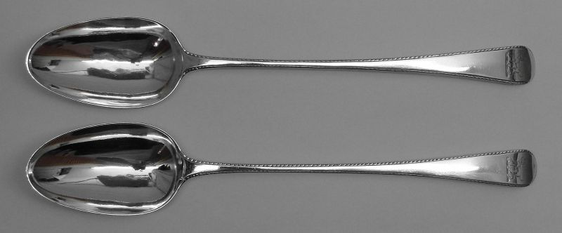Fine Pair of Crested Georgian Stuffing Spoons by Thomas Chawner, 1774