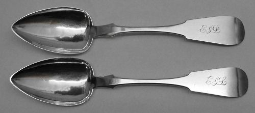 Pair of Hagerstown Coin Silver Tablespoons by Thomas A. Boullt