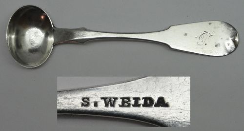 Reading, PA Coin Silver Salt Spoon by Solomon Weida, Circa 1849-72