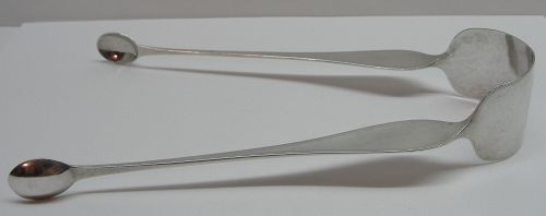 NFS - Interesting Twist-Arm Sugar Tongs Circa 1790-1810 Marked SR