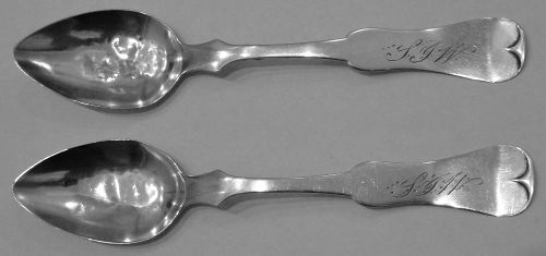 Rare Pair of Hannibal, Missouri Coin Silver Spoons by George Mitchell