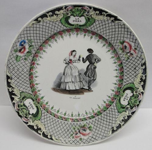 Fine Creil et Montereau Porcelain Plate Depicting a Dance, Ca. 1840-76