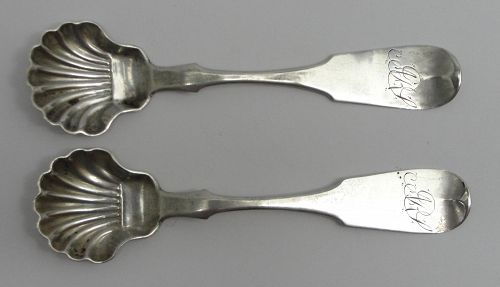 Pair of Reading, Pennsylvania Coin Silver Salt Spoons by Henry Kessler