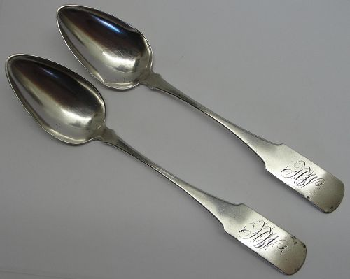 Nice Pair of Coin Silver Tablespoons by Samuel Wilmot, Sr.