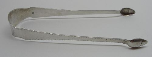 18th Century Chambersburg Coin Silver Sugar Tongs by Charles Young