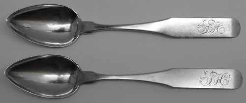 Fine Pair of Transitional Fiddle Teaspoons by Phillip Garrett of Phila