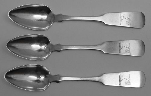 Fine Set of Three Crested Coin Silver Spoons - An Interesting Armorial