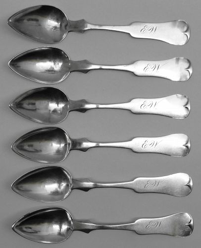 Set of 6 St. Louis Coin Silver Spoons by Menkens, Ca. 1864-66