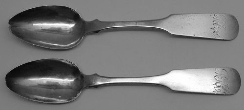 Pair of Georgia Coin Silver Teaspoons by Wentworth & Co.