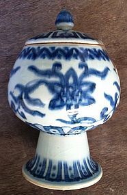 Ming Style blue and white stem cup and cover