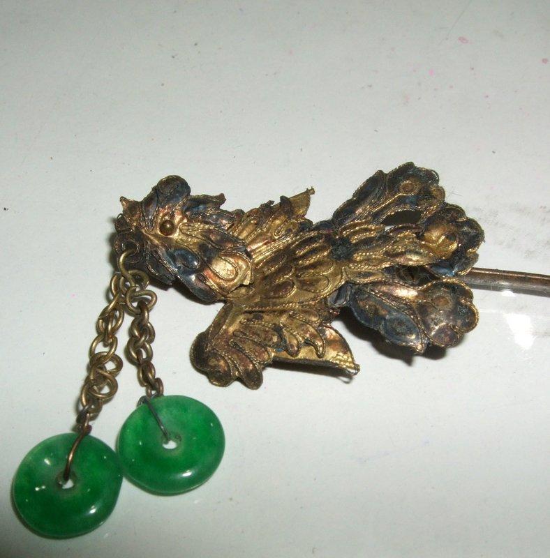 Qing Era Gold Gilt silver Hairpin of pheonix & jade