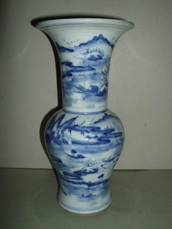 Late Qing Republic Yenyen Blue & White Vase