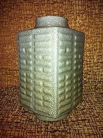 Chinese Ge Type Cong Square Vase