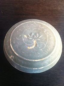 Chinese Yue kiln lotus moulded covered box