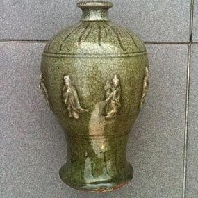 Longquan celadon olive green meiping vase